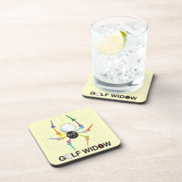 Golf Widow Black Widow Spider Tees Beverage Coaster