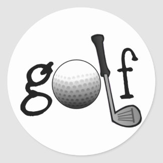 Golf with Club and Ball Classic Round Sticker