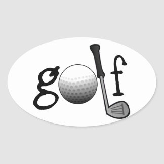 Golf with Club and Ball Oval Sticker