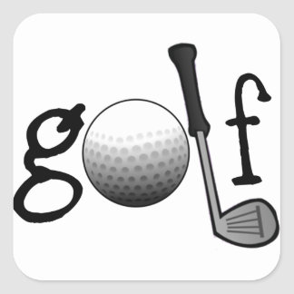 Golf with Club and Ball Square Sticker