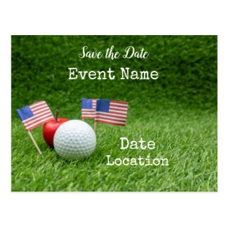 Golf with flag of America with apple on green Postcard