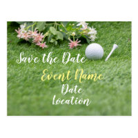 Golf with flowers on green grass save the date postcard