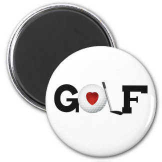 Golf with Golf Ball 2 Inch Round Magnet