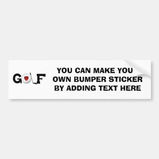 Golf With Golf Ball Tshirts and Gifts Car Bumper Sticker