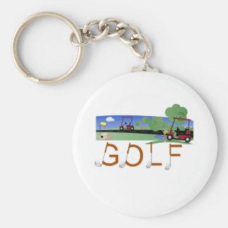 Golf with Golf Carts Keychain