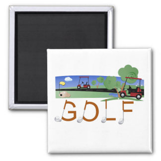 Golf With Golf Carts Tshirts and Gifts 2 Inch Square Magnet