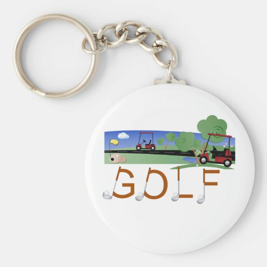 Golf With Golf Carts Tshirts and Gifts Keychain