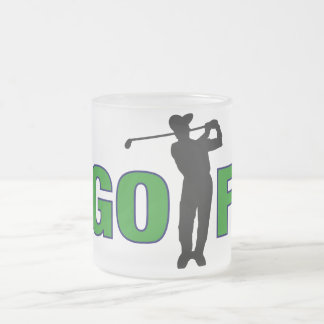 Golf with Golfer Frosted Glass Coffee Mug