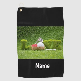 Golf with love in basket golf ball and 19th hole golf towel