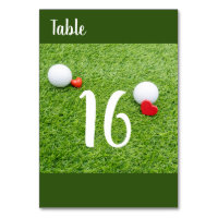 Golf with love on green grass table number