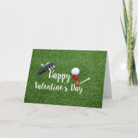Golf with love on green Happy Valentine's Day Card