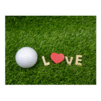 Golf with love shape on green grass to golfer postcard