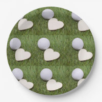 Golf with love with golf balls and hearts paper plate