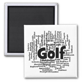 Golf Word Cloud 2 Inch Square Magnet