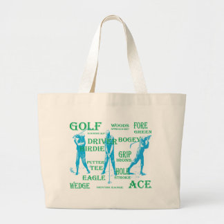 golf word cloud.in blue and green large tote bag