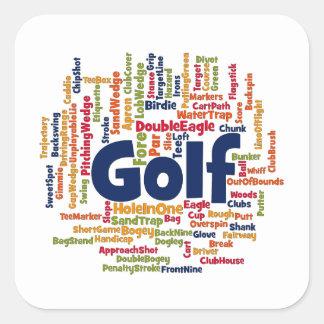 Golf Word Cloud Square Sticker