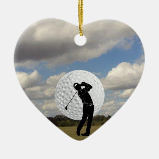 Golf World Double-Sided Heart Ceramic Christmas Ornament