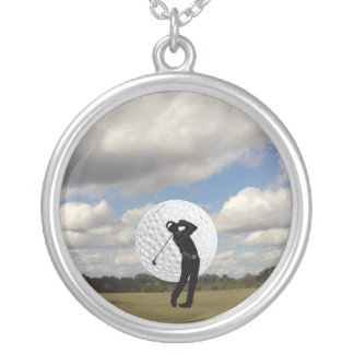 Golf World Silver Plated Necklace