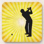 Golf; yellow beverage coaster
