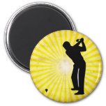 Golf; yellow refrigerator magnet