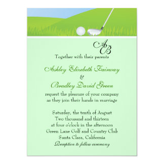 Golfball Golfing Green Monogram Wedding Card