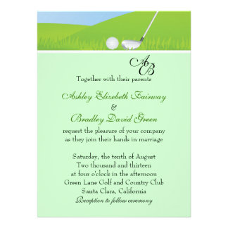 Golfball Golfing Green Monogram Wedding Invite