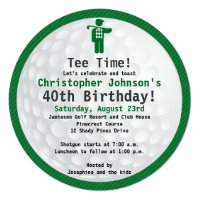 Golfball Green blac Golf Birthday Party Invitation