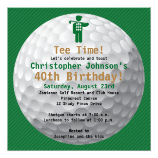 Golfball Green Gold Golf Birthday Party Invitation