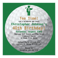 Golfball Green Gold Golf Birthday Party Invitation