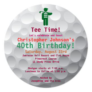 Golfball Green Golf 40th Birthday Party Invitation
