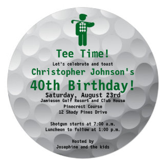 Golfball Green Golf 40th Birthday Party Invitation Invitation