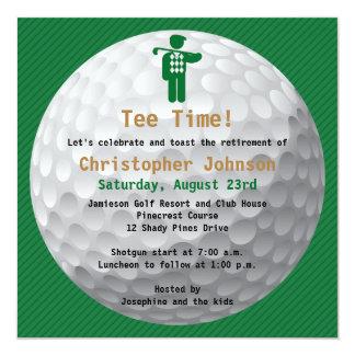 "Golfball Green Golf Retirement Party Invitation 5.25"" Square Invitation Card"