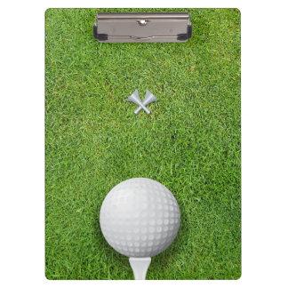Golfball on Tee Golf Instructor Coach Clipboard
