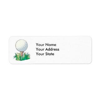 golfball sitting on golf tee label