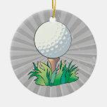 golfball sitting on golf tee ornaments