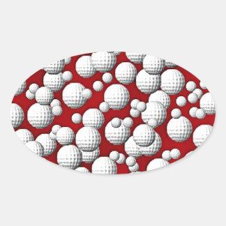Golfballs everywhere oval sticker