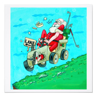 Golfcart Santa Card
