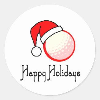 GolfChick Happy Holidays Classic Round Sticker