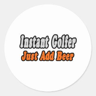 Golfer...Add Beer Classic Round Sticker