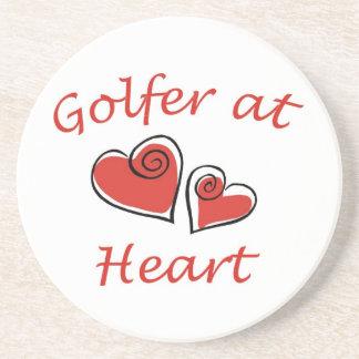 Golfer at Heart Beverage Coasters