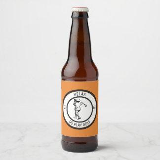 Golfer Beer Bottle Label