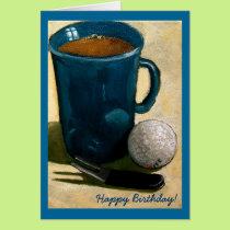Golfer Birthday: Painting of Golf Ball, Mug, etc. Card