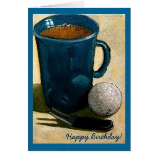 Golfer Birthday Painting of Golf Ball Mug etc Greeting Card