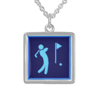 Golfer - BlueBkg Square Pendant Necklace
