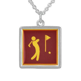 Golfer - BrownBkg Square Pendant Necklace