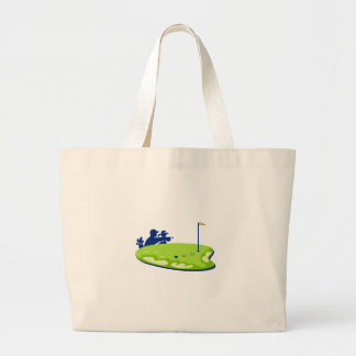 Golfer Caddie Golf Course Retro Large Tote Bag
