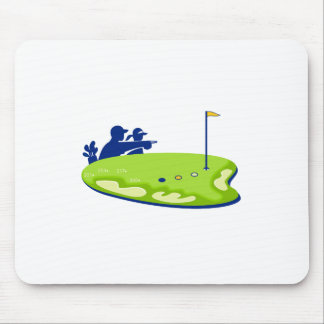 Golfer Caddie Golf Course Retro Mouse Pad