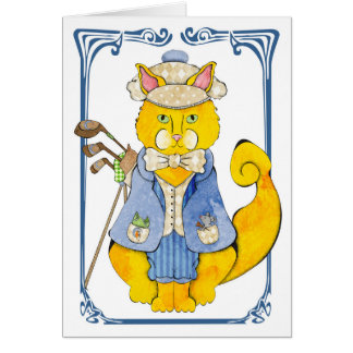 Golfer Cat Greeting Card
