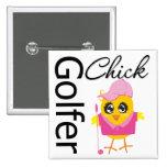 Golfer Chick 2 Inch Square Button