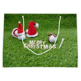 Golfer Christmas Holiday with golf ball and Santa Large Gift Bag
